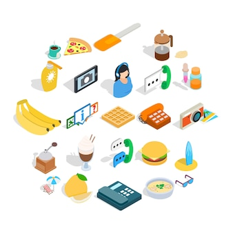 Brunch icons set, isometric style