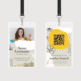 Brunch id card template with photo