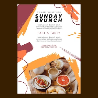 Brunch restaurant flyer template