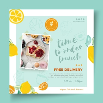 Brunch restaurant square flyer template g