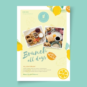 Brunch restaurant vertical flyer template