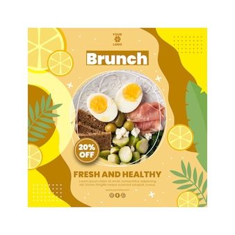 Brunch squared flyer template