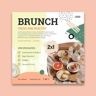 Brunch squared flyer template Free Vector