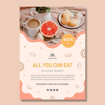 Brunch vertical flyer template design