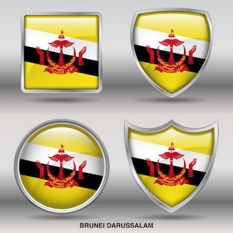 Бруней-даруссалам флаг bevel 4 формы значок
