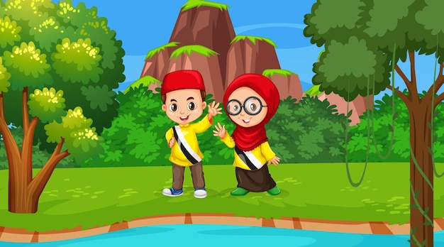 Brunei kids wears traditional clothes in the forest scene