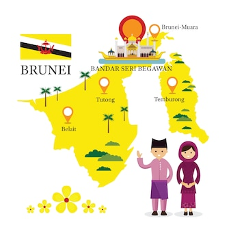 Brunei map and landmarks with people in traditional clothing