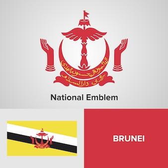 Brunei national emblem and flag