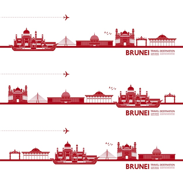 Brunei travel destination grand  illustration.