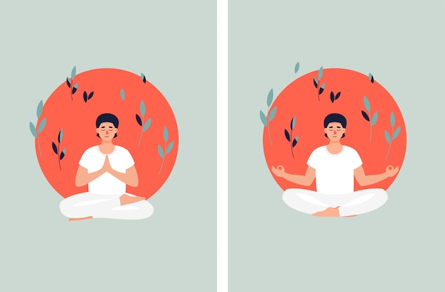 Brunet man meditating in lotus position on the sun background and leaves