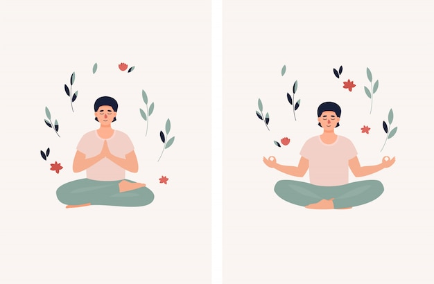 Brunet man sitting in lotus position with leaves and flowers