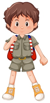 A brunette boy scout character