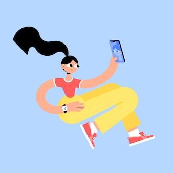 黄色のズボンと赤いスニーカーのイラストでブルネットの女の子のキャラクター