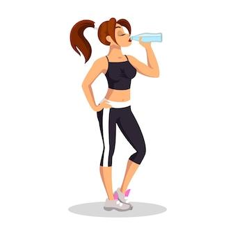 Девушка брюнетка в спортивном топе, коротких леггинсах и кроссовках стоя и питьевой водой. молодая спортсменка отдыхает. ежедневные тренировки, здоровый, активный образ жизни. мультфильм на белом.