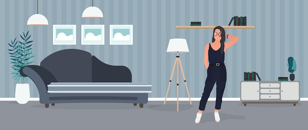 갈색 머리 소녀 포즈. 세련된 정장 모델. 방, 소파, 플로어 램프, 벽에 그림, 책이 든 책장, 검은 머리 소녀.