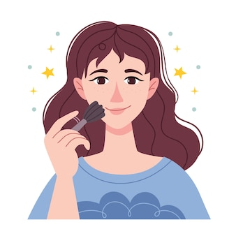 Brunette girl powders her face. beautiful young woman applying cosmetic powder on her face with tassel, skincare concept.