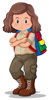 A brunette girl scout character