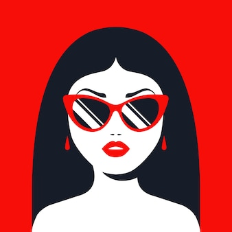 Brunette girl in sunglasses and red lipstick. flat character  illustration.