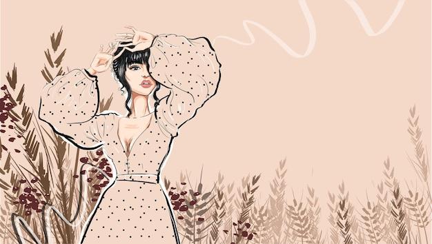 ボリュームスリーブの肌色のドレスのブルネット