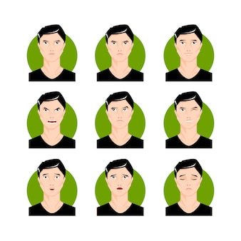 Brunette man illustration set. black haired young male, boy in cartoon style, faces, portraits with different facial expressions and emotions. character vector illustration.
