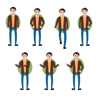 Brunette man vector set illustration in cartoon style in glasses, wearing jacket and jeans in different poses, various facial expressions emotions, character collection design.
