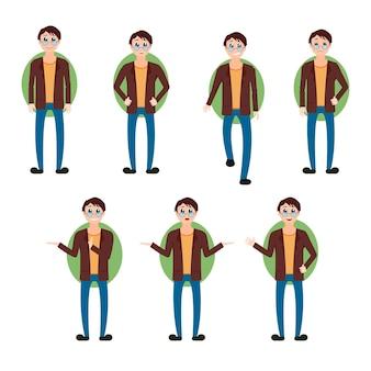 ブルネットの男性のベクトルは、メガネ、さまざまなポーズ、さまざまな表情の感情、キャラクターコレクションのデザインでジャケットとジーンズを身に着けている漫画スタイルのイラストを設定します。