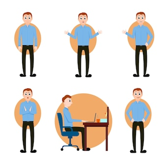 ブルネットの男のベクトルは、漫画のスタイルで、青いシャツとズボンを着て、コンピューターの前に座って、さまざまなポーズ、さまざまな表情の感情、キャラクターコレクションのデザインのイラストを設定します。
