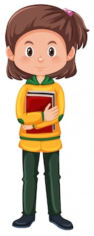 A brunette student character