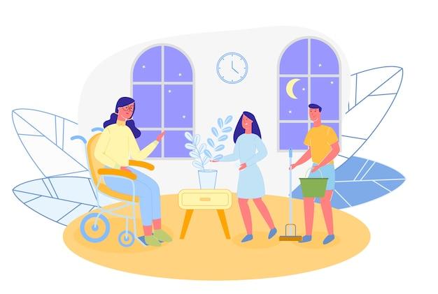 Brunette in wheel chair is spending time in living room