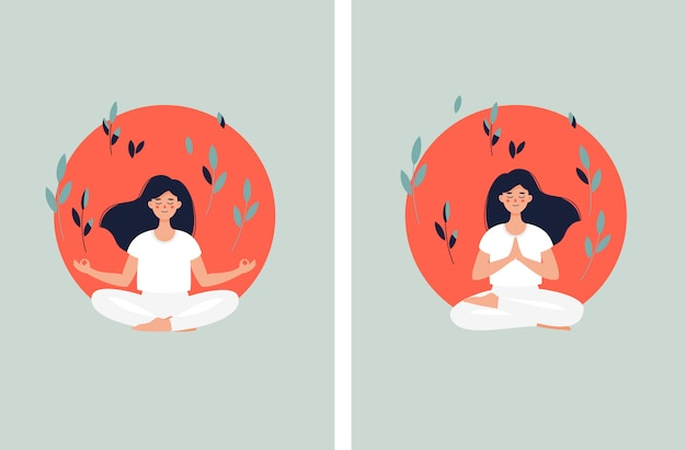 Brunette woman meditating in lotus position on the sun background and leaves