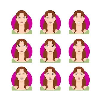 ブルネットの女性セットベクトルイラスト。漫画のスタイル、肖像画、さまざまな表情、感情を持つ顔の若い茶色の髪の少女女性。簡単に変更できます。キャラクターコレクションデザイン。
