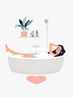 갈색 머리 여자 선반에 화분에 의해 목욕.