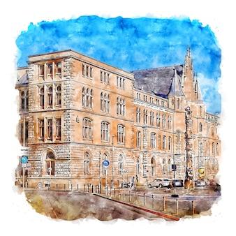 Brunswick 독일 수채화 스케치 손으로 그린 그림