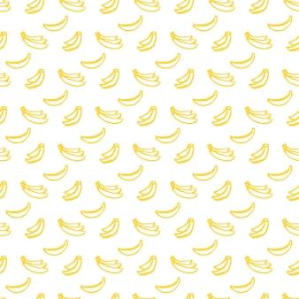 ブラシバナナシームレスパターン。手描きのペイントフルーツの背景のベクトルイラスト。