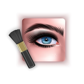 Brush to blend eye shadow a makeup brush in a realistic style