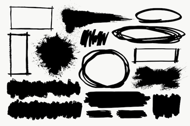 Set di elementi pennello in nero su sfondo bianco