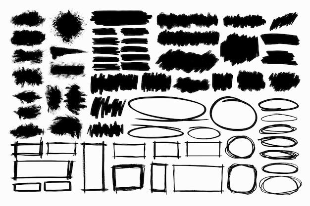 白地に黒のブラシ要素コレクション