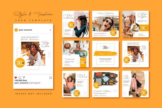 Brush fashion social media post feed template collection