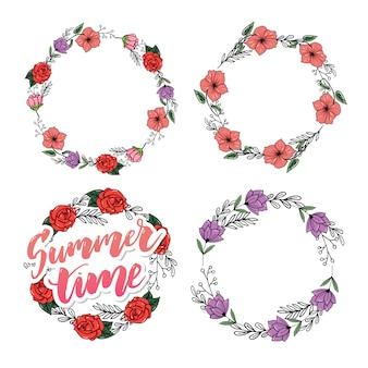 Brush lettering composition of summer flowers frame