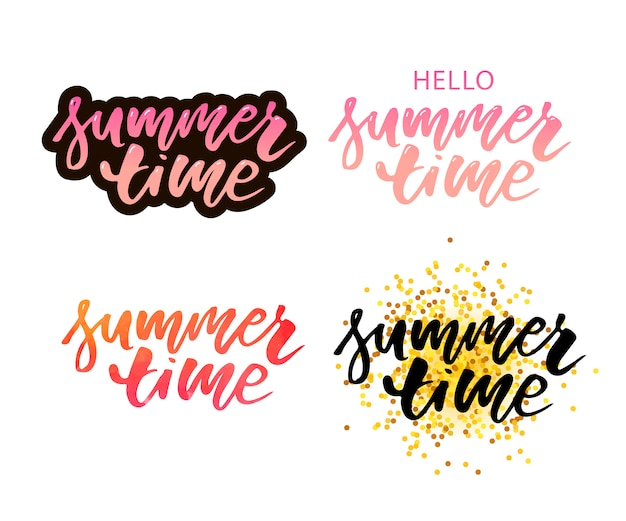 Brush lettering composition of summer vacation isolated on white background