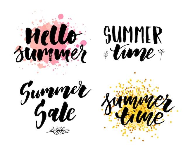 Brush lettering composition of summer vacation slogan hello summer sale set