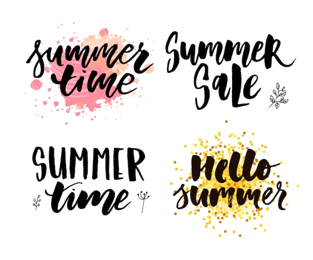 Brush lettering composition of summer vacation slogan hello summer sale set
