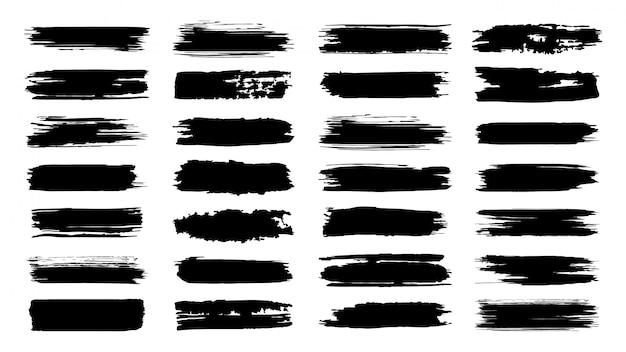 브러시 페인트 선. 텍스처 브러쉬 및 현대 그런 지 브러쉬 라인입니다. 프레임 디자인을위한 잉크 브러시 예술적 요소입니다. 요소를 설정합니다. 흰색 배경에 텍스트 테두리의 컬렉션