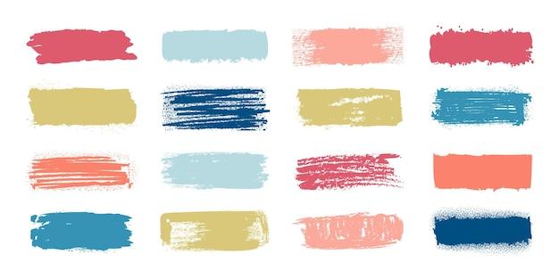 ブラシペイント見本。ファッションパステルカラーのメイクアップストローク、パッチとスマッジ効果のあるバナー。白い背景の上のテキストの塗りつぶしグランジラベルのベクトルセットイラスト