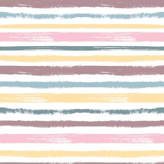 ブラシパターン。パステルストライプ、グランジグラフィックカラフルなシームレステクスチャ。子供のテキスタイル見本用の絵筆。インクベクトルの背景。イラストパターンブラシ芸術的でシームレスなパステル