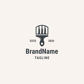 Кисть пианино логотип. винтажный стиль логотипа. логотип для бизнеса, музыки, искусства.