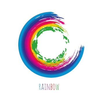Brush rainbow circle for your design. Colorful frame isolated. Vector