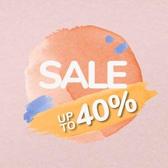 브러시 판매 스티커, 오렌지 수채화, 빈 디자인 공간 벡터가 있는 쇼핑 이미지