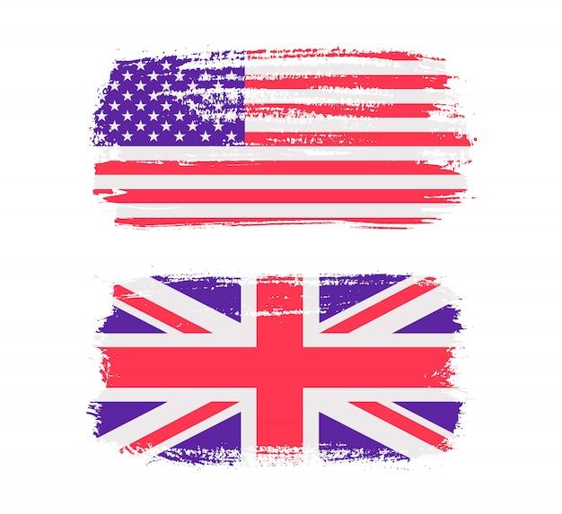 ブラシストロークのアメリカとイギリスの旗