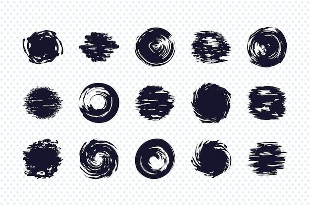 白い背景の上に設定されたブラシストロークの円